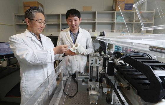 Prof. Cho(left) observing the artificial structure constructed