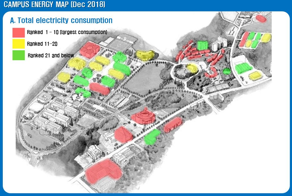 ▲Campus energy map (2018) posted on school announcement