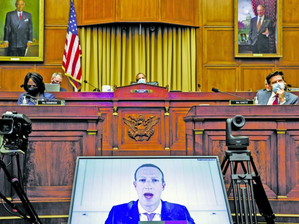 ▲ Facebook CEO Mark Zuckerberg testifies virtually before the House Judiciary Subcommittee on July 29